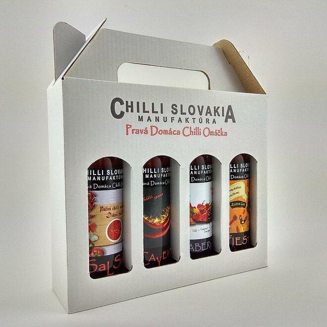 4 x 100 ml Darčekové balenie chilli omáčok (biele balenie / Medium hot stredne pálivé)