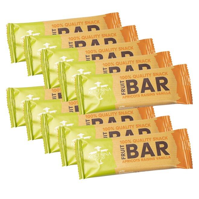 10 x 33 g Raw 100% ovocných tyčiniek FRUIT BAR (sušené marhule, hrozienka, vanilka)