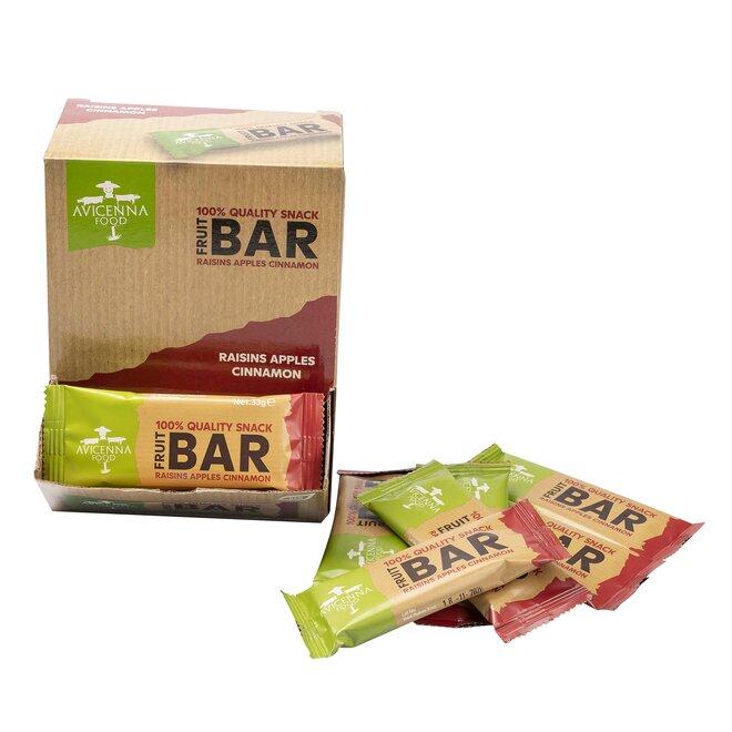 30 x 33 g Raw 100% ovocných tyčiniek FRUIT BAR (hrozienka, jablko, škorica)