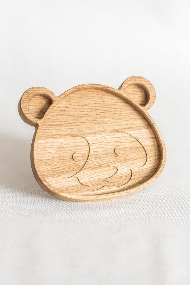 Detský drevený tanierik (panda)