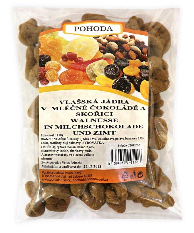 250 g Jadrá vlašských orechov so škoricou v mliečnej čokoláde