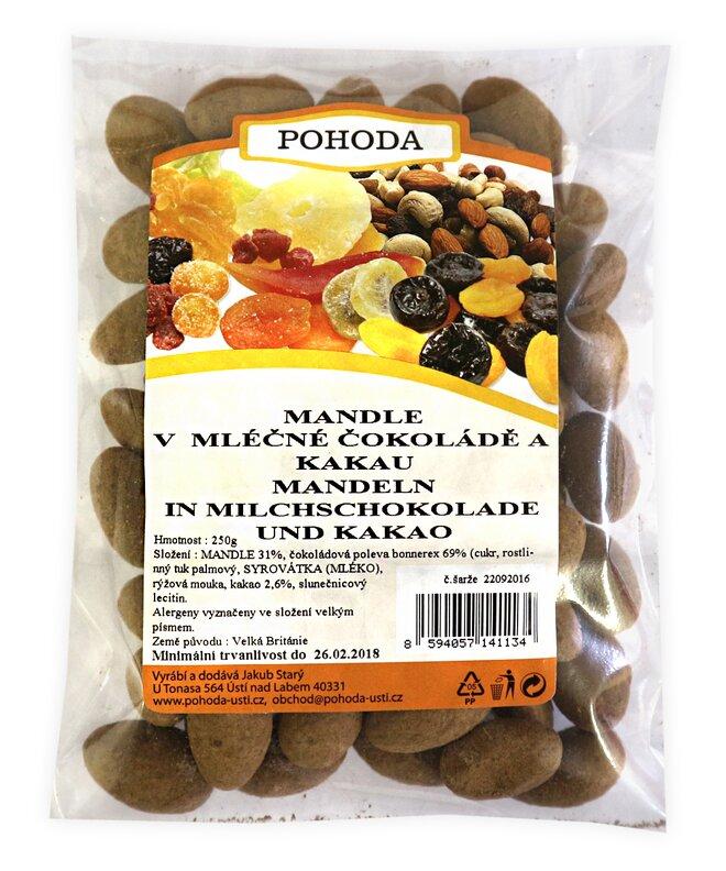 250 g Mandle s kakaom v mliečnej čokoláde