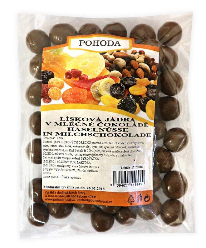 250 g Lieskové jadrá v mliečnej čokoláde