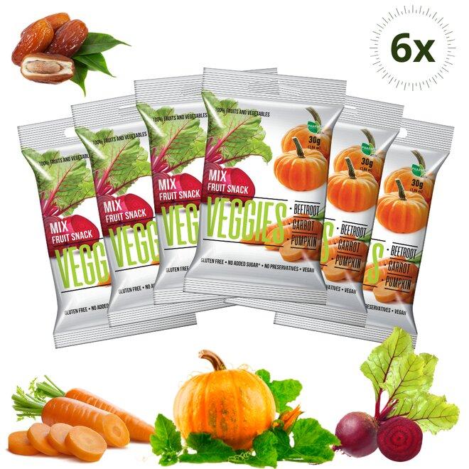 6 × 30g Ovocné - zeleninové kocky Veggies - Mix 3 v 1 (180g)