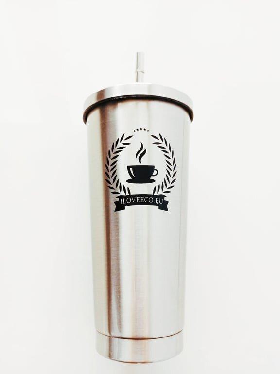 473 ml Kovový termopohár so slamkou (strieborná)