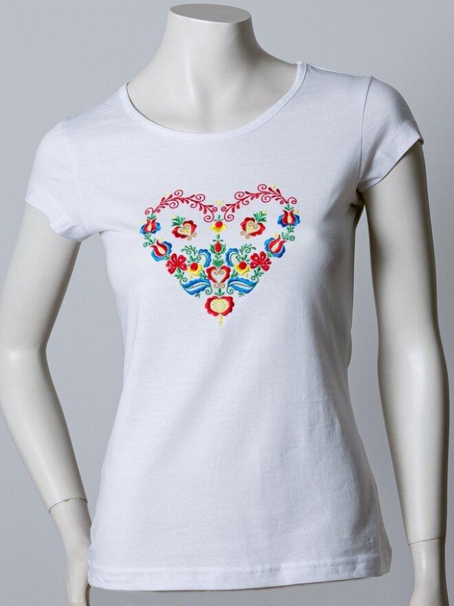 Dámske vyšívané tričko v darčekovom balení SRDCE