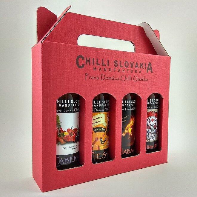 4 x 100 ml Darčekové balenie chilli omáčok (červené balenie / X-hot extra pálivé)