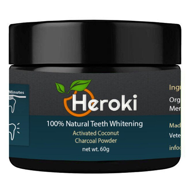 60 g Prírodný prášok na bielenie zubov s aktívnym kokosovým uhlím