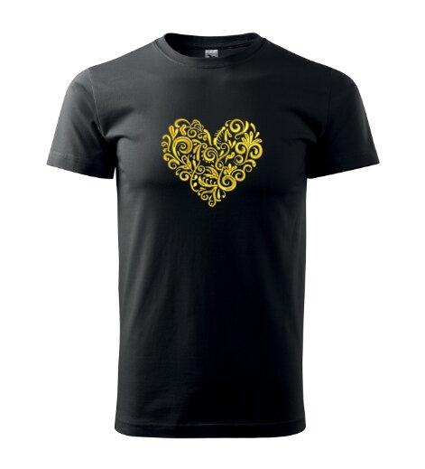 Pánske tričko s výšivkou ľudového srdiečka