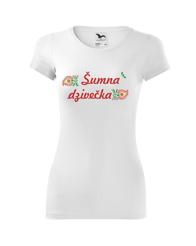 Dámske tričko s ľudovou výšivkou (Šumna dzivečka)