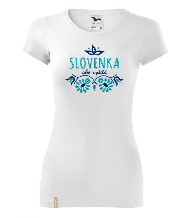 Dámske tričko s ľudovou výšivkou (Slovenka ako vyšitá)