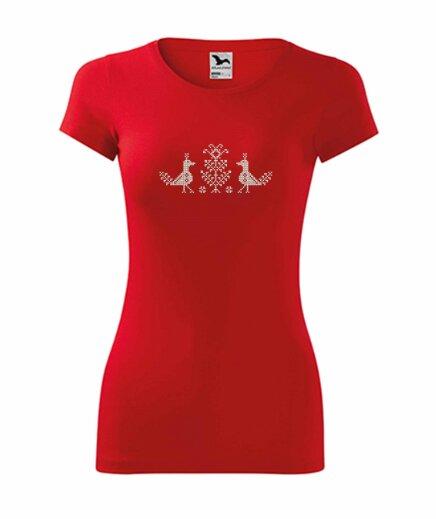 Dámske tričko s ľudovou výšivkou (vtáčiky)