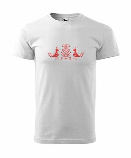 Pánske tričko s ľudovou výšivkou (vtáčiky)