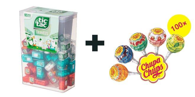 BALÍK č.1: 228 g Veľké balenie Tic Tac Mixed (60 malých krabičiek) +100 ks Mini lízanky Perfetti Van Melle Chupa Chups