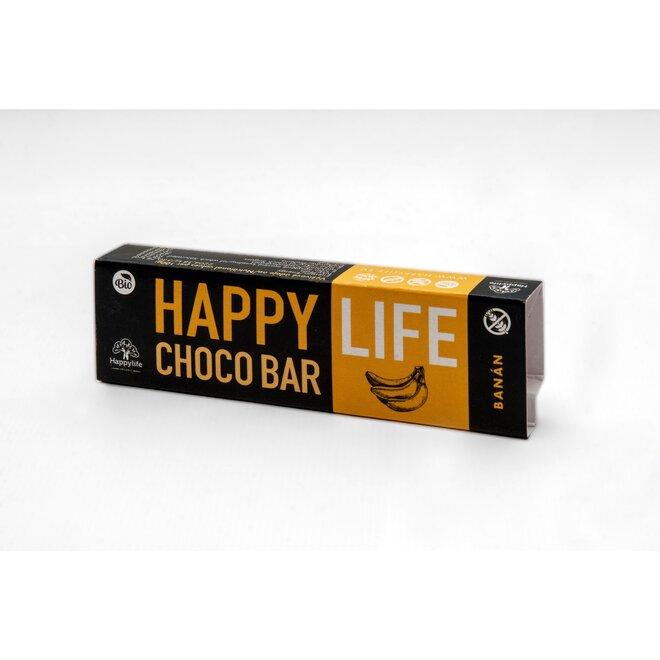 35 g BIO Chrumkavá čokoládová tyčinka s banánom HAPPYLIFE CHOCO BAR