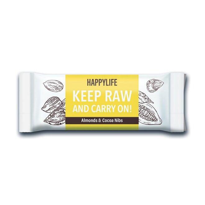 HAPPYBAR – mandľová tyčinka s kakaovými bôbmi BIO & RAW 50g