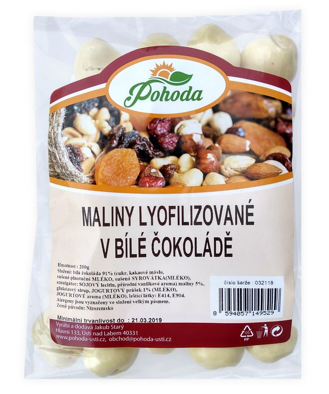 200 g Maliny lyofilizované v bielej čokoláde