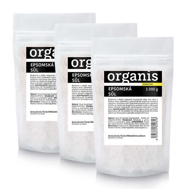 3 x 1000 g Epsomská minerálna soľ Organis