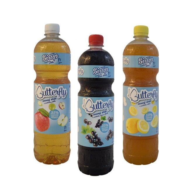 """3 x 1 l Sirup so šťavou slovenskej výroby """"Butterfly"""" (čierna ríbezľa + jablko + citrón)"""