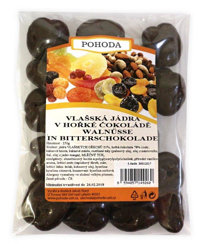250 g Jadrá vlašských orechov v horkej čokoláde