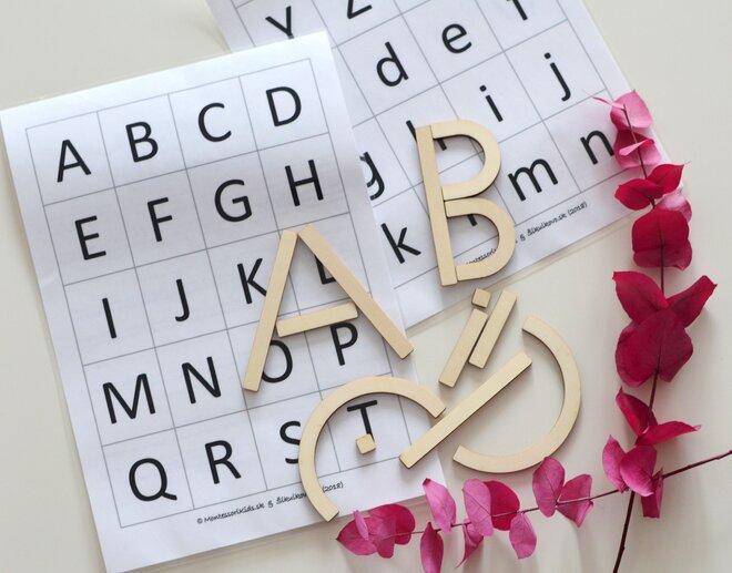 Edukačná drevená skladačka / tvary písmen