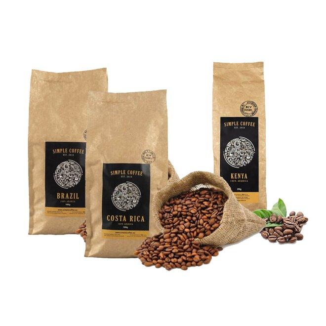 3-dielny SET: 3 x 250 g - 1000 g Zrnková káva pražená na Slovensku