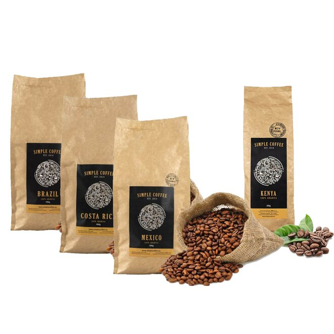 4-dielny SET: 4 x 250 g Zrnková káva pražená na Slovensku