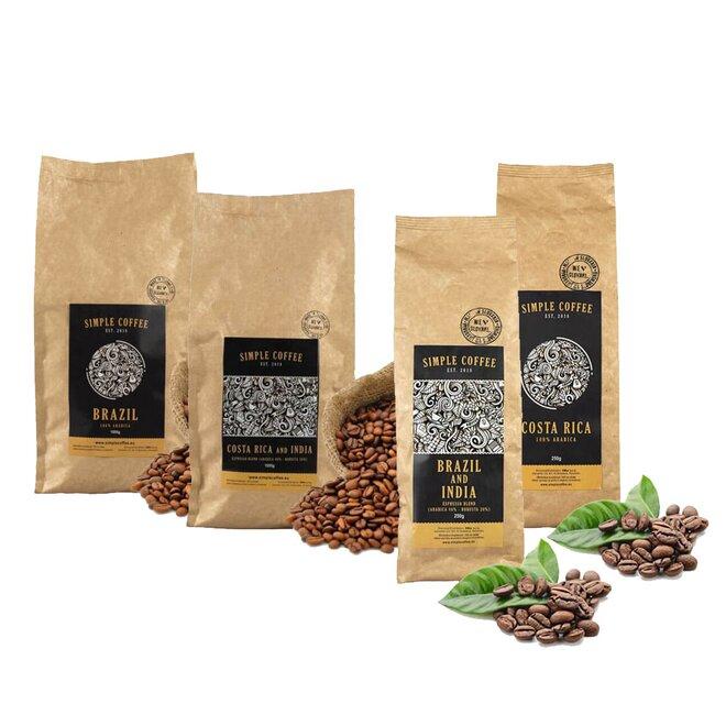 4-dielny SET: 2 x 250 g Zrnková káva + 2 x 250 g Zrnková espresso blend káva pražená na Slovensku