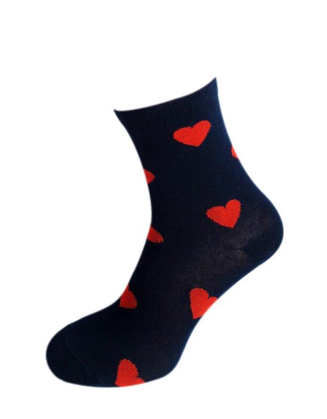 Bláznivé dámske ponožky Srdcia na modrej
