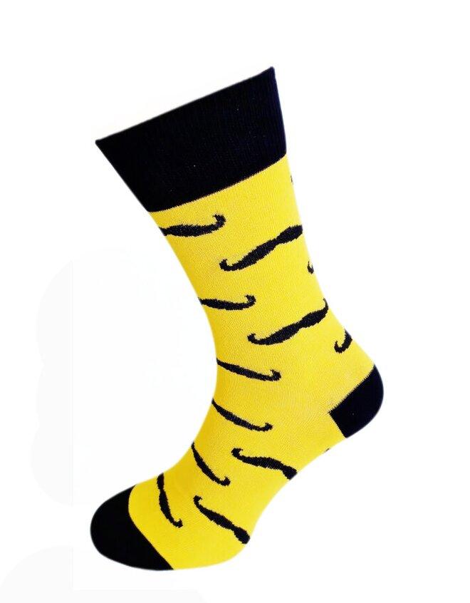 Bláznivé pánske ponožky Fúzy žlté