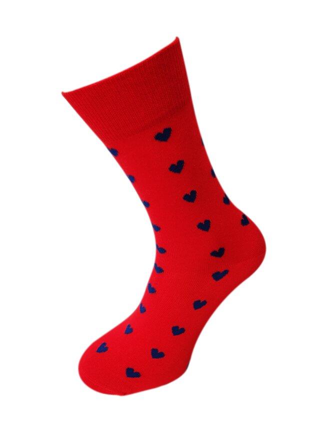 Bláznivé pánske ponožky Srdcia na červenej