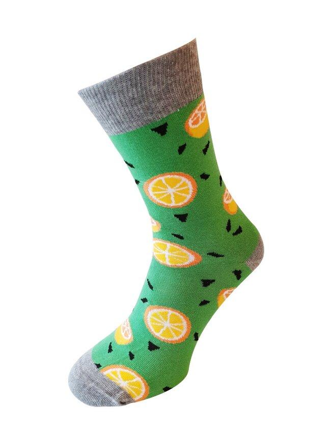 Bláznivé dámske ponožky Pomaranče zelené