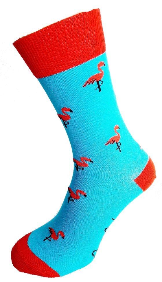 Bláznivé pánske ponožky Plameniak modrý