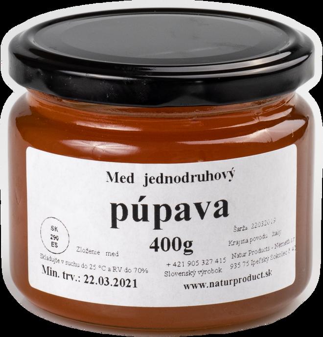 400 g Jednodruhový med (púpavový)