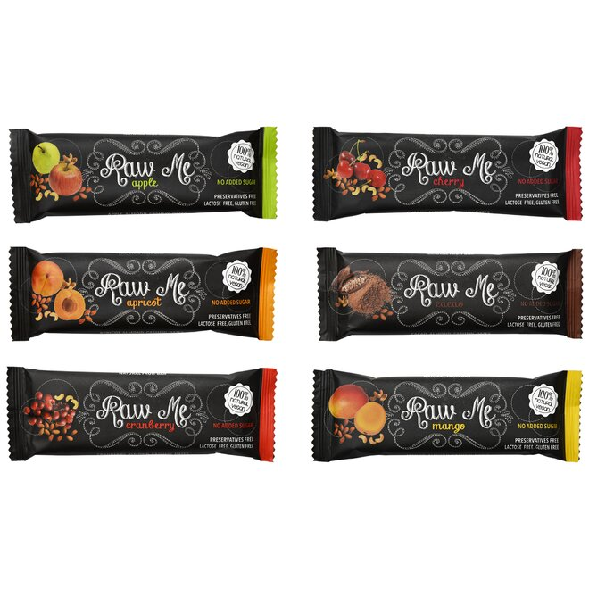 21 x 45 g Raw Me Fruit & Nut Bar Mix (6 príchutí)