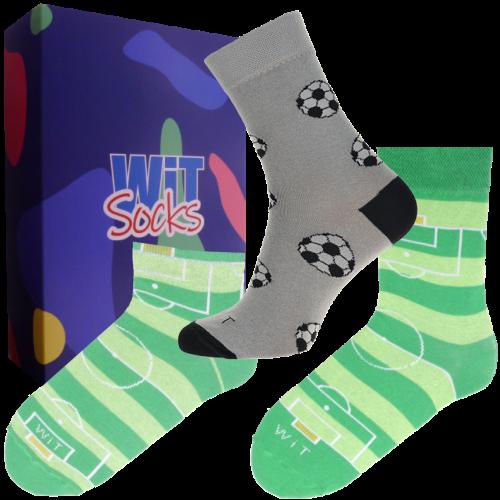3 ks Darčekový set klasických a nízkych ponožiek (futbal)