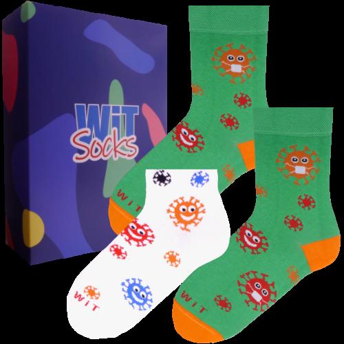 3 ks Darčekový set klasických a nízkych ponožiek (baktérie)