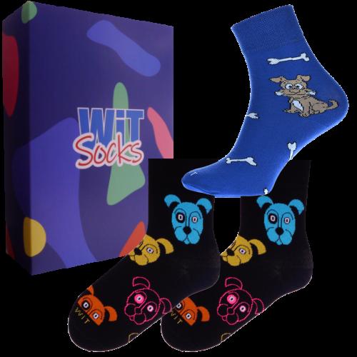 3 ks Darčekový set klasických ponožiek (psy)