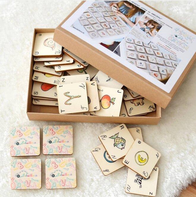 Edukačné drevené pexeso / učíme sa abecedu (štvorčeky)