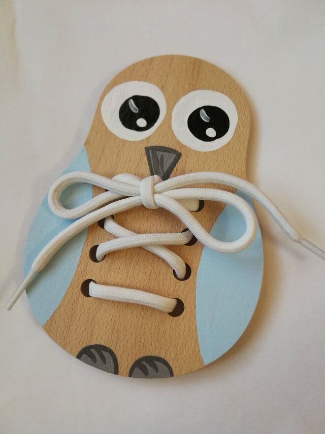 Edukačná šnurovacia topánka (modrá sova)