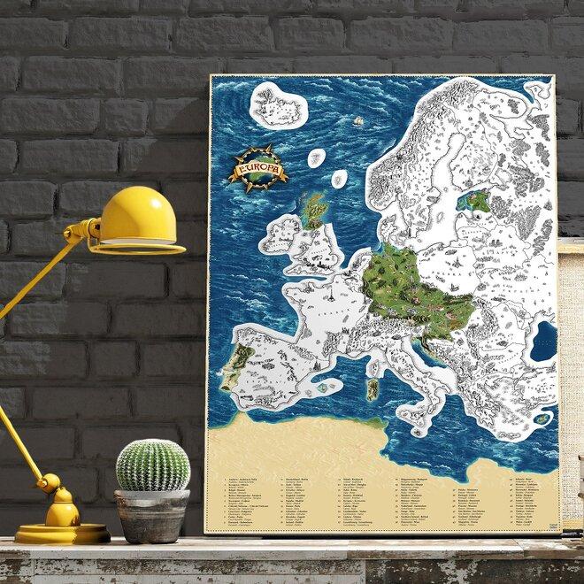 Stieracia mapa Európy Deluxe XL (strieborná)