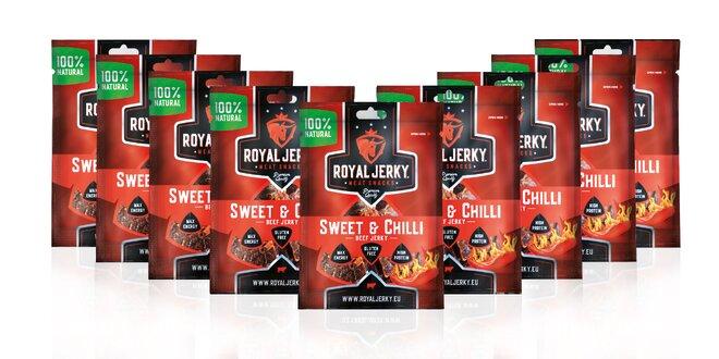 9 x 22 g Balíček prémiového sušeného mäsa Royal Jerky (Sweet & Chilli)