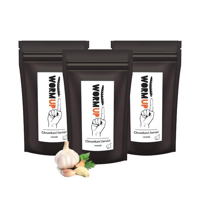 3 x 20 g Balenie chrumkavých červíkov WormUp (príchuť: cesnak)