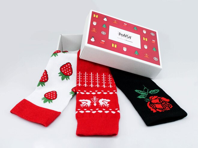 3 ks Balenie ponožiek Ponsh vyrobených na Slovensku (Vianočný box)