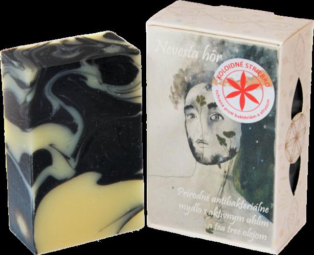 """85 g Prírodné antibakteriálne mydlo s koloidným striebrom a aktívnym uhlím na akné a problematickú pleť,,Nevesta hôr"""""""