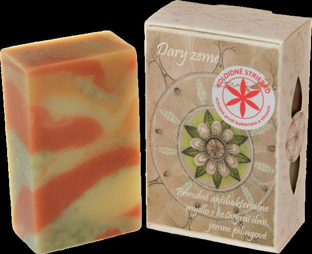 """85 g Prírodné antibakteriálne mydlo s koloidným striebrom a liečivými ílmi ,,Dary zeme"""""""