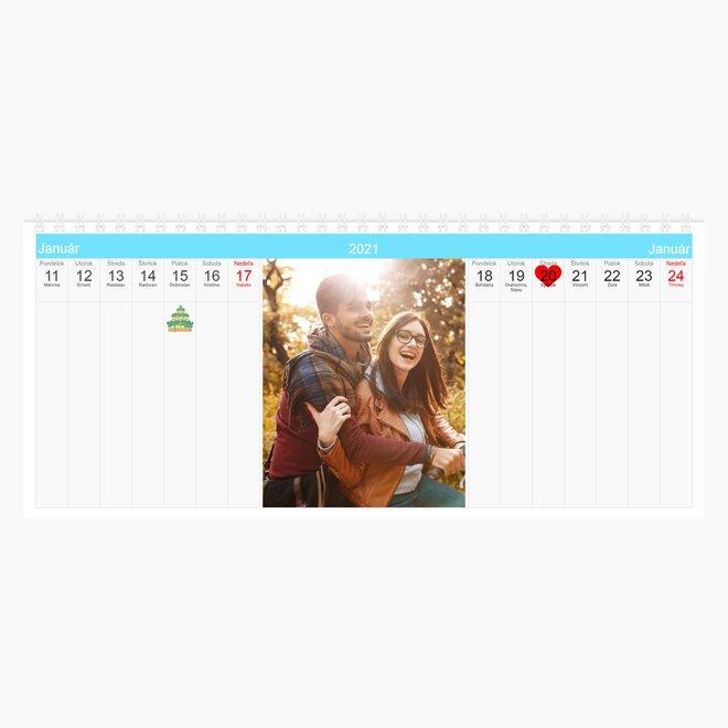 Stolový dvojtýždňový kalendár z vlastných fotografií