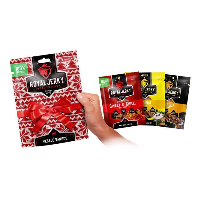 9 x 22 g Balíček prémiového sušeného mäsa Royal Jerky (MIX 3 príchutí / červený)