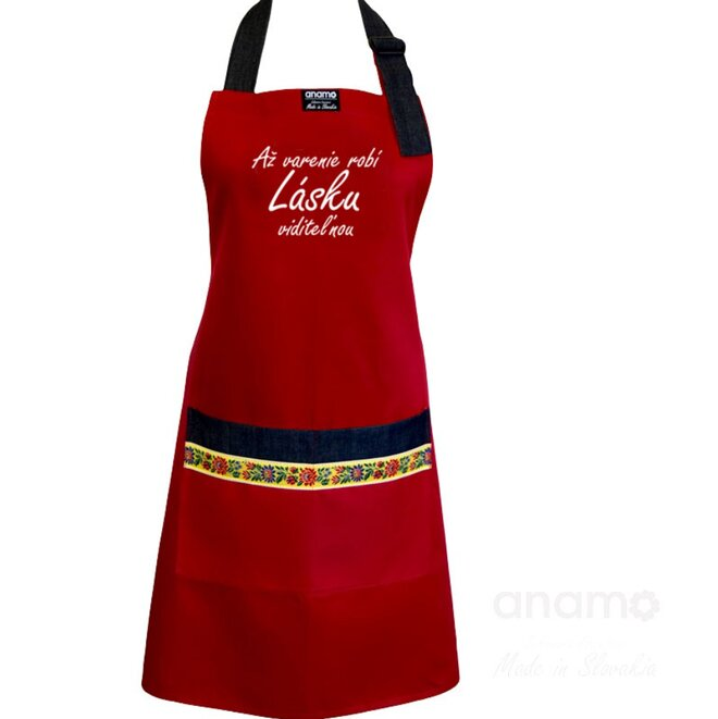 """Unisex zástera """"Až varenie robí lásku viditeľnou"""""""