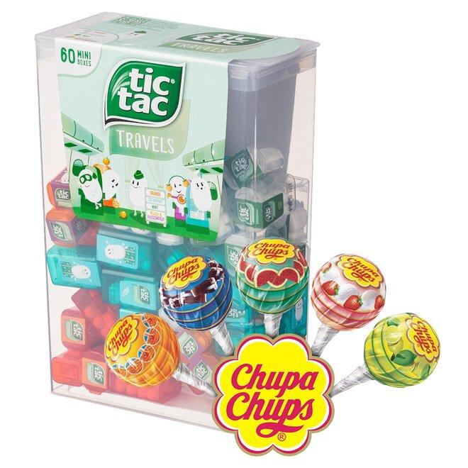 BALÍK č.2: 228 g Veľké balenie Tic Tac Mixed (60 malých krabičiek) +100 ks Mini lízanky Perfetti Van Melle Chupa Chups